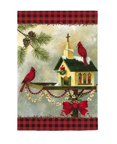christmas church red cardinals