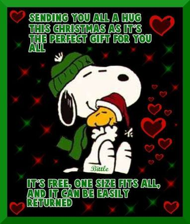 christmas greeting snoopy hug