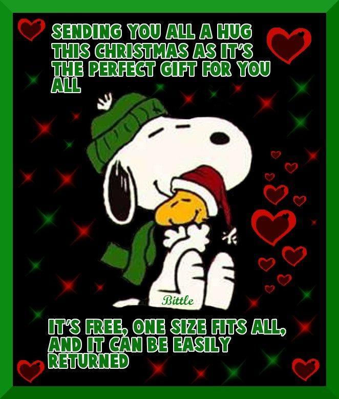 christmas greeting snoopy hug