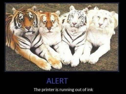 printer running otu of ink
