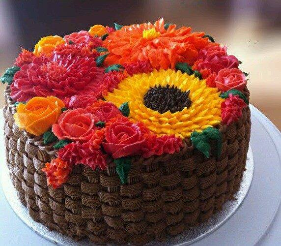 flower cake brown dark weave