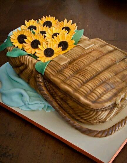 flower cake sunflower basket