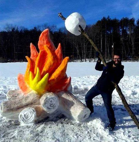 snow sculpture fire