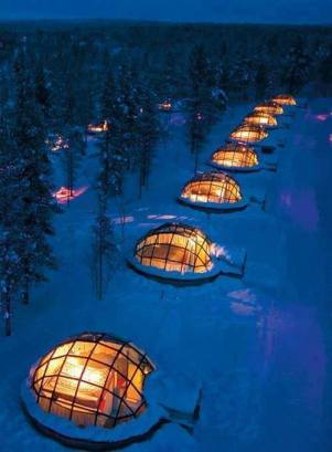 glass igloos for rent in Finland where you can sleep under the Northern Lights
