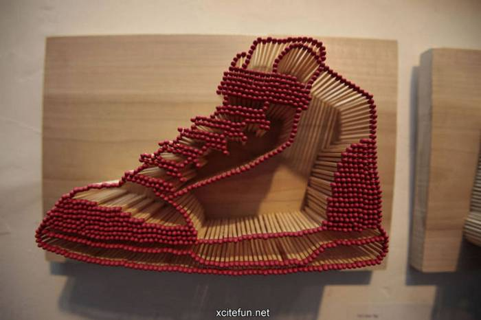 red matchstick shoe