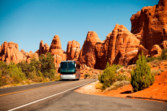 Bus drives in the canyon