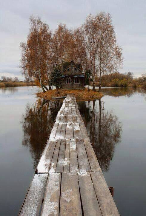 Abandoned house on the middle of a lake