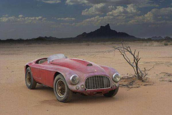 Abandoned, old Ferrari in the Arizona desert