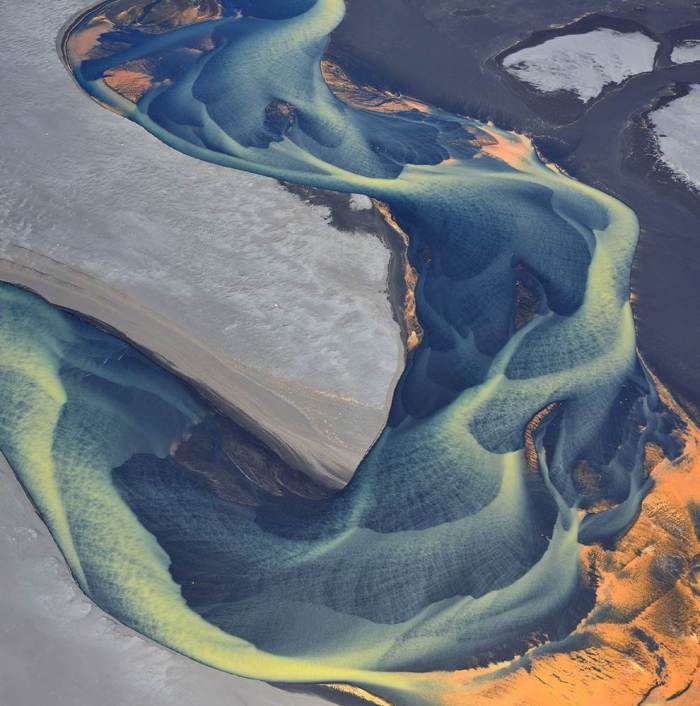 aerial-photography-glacial-river-iceland